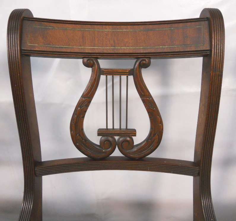 Sold Set Of Six Antique Regency Style Mahogany Harp Back